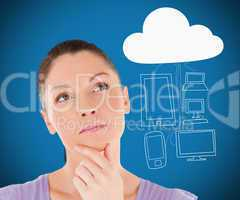 Woman thinking about media devices connecting through cloud comp