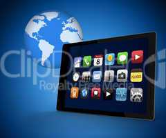 Tablet pc with applications against blue background