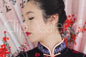 Beautiful woman wearing traditional Asian clothing