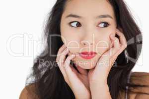 Woman looking afraid
