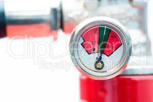 Close up of gauge on fire extinguisher