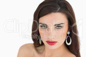 Woman with brown hair and red lips