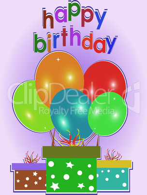 Birthday card. Celebration red background with gift boxes. vector