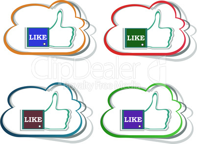 Thumb up hand with word like stickers set. Vector illustration
