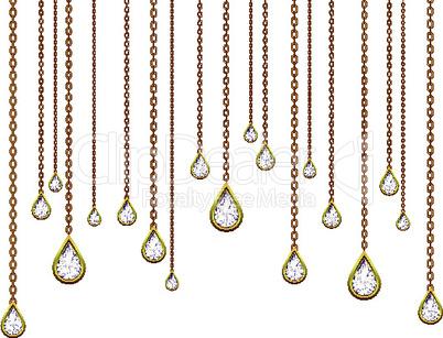 golden drops with brilliants