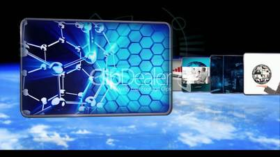 Animated videos of businesspeople global business and dna technology