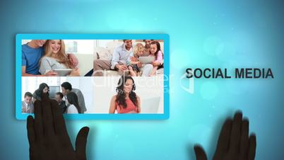 Black animated hands moving social media videos and text