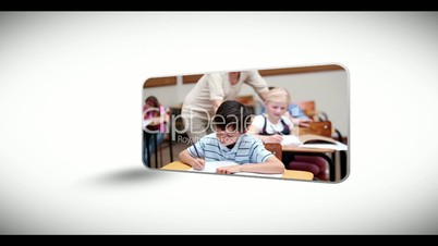 Montage of children moving through education system to university