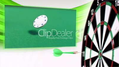 Slow motion darts animation with poker and gambling clips
