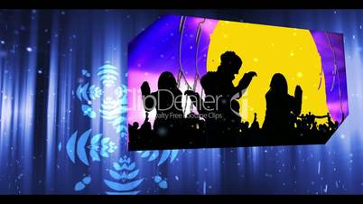 Montage of party and clubbing clips on neon background