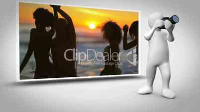 Montage of holiday clips with animated figure photographing