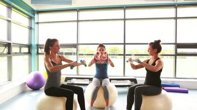 Women sitting on exercise balls lifting weights