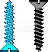 Stainless steel screw. Vector illustration.