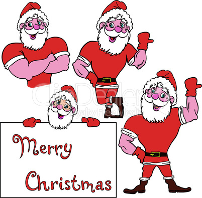 A set of pictures muscular Santa Claus
