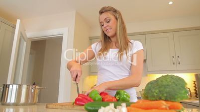 Woman cutting vegetables putting in a pot with man entering