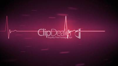 Pink heart monitor line with moving background