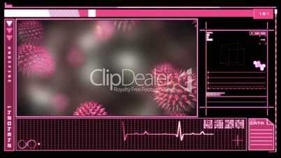 Medical digital interface showing virus