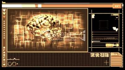 Medical digital interface showing brain