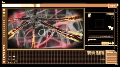 Medical digital interface showing neuron moving through nervous system