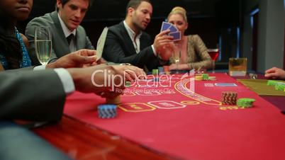 Bets being placed at poker game