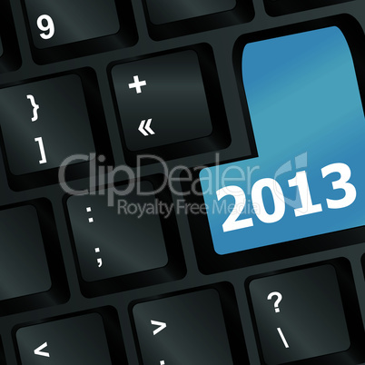 White 2013 new year keyboard button close-up