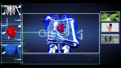 Medical interface showing skeleton running and healthy lifestyle clips