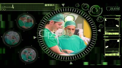 Hand selecting various surgical videos from menu
