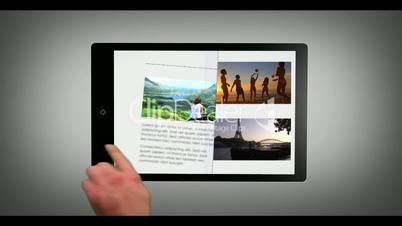 Animated travel catalogue on digital tablet
