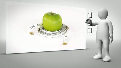 Clip of apple surrounded by measuring tape