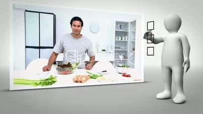 Clip of man happily preparing salad