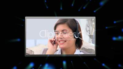 Montage of business people on calls