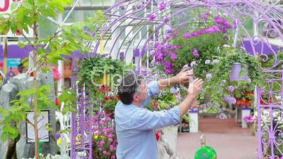 Man standing at the garden center