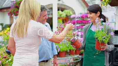 Couple choosing plants while assistant is helping