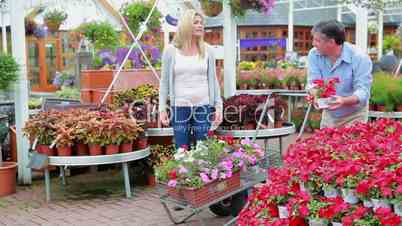 Couple looking for plants pushing a trolley