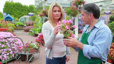 Employee showing a plant to customer