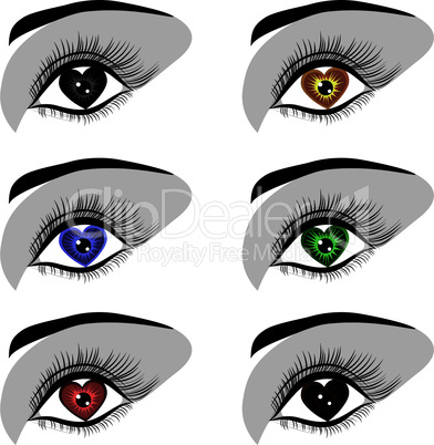 Woman eye logotype symbol set.
