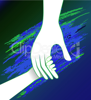 Hand of the child in father encouragement help