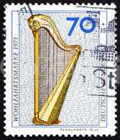 Postage stamp Germany 1973 Pedal Harp, 18th Century