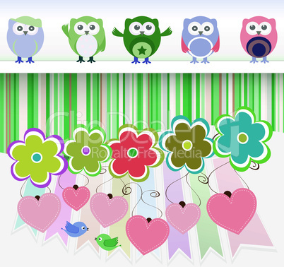 sweet owls, flowers, love hearts and cute birds - vector