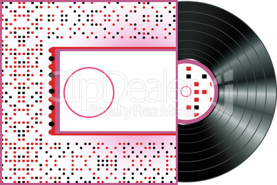 Vinyl and cover over a white background, red abstract art