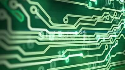green circuit board providing signals 3d animation