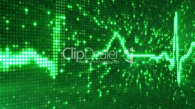 digital pixel EKG electrocardiogram pulse green loopable background