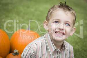Cure Young Child Boy Enjoying the Pumpkin Patch.