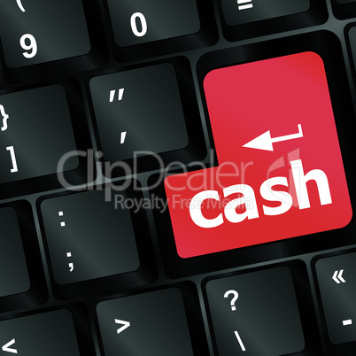 red cash button on computer keyboard showing business concept. raster