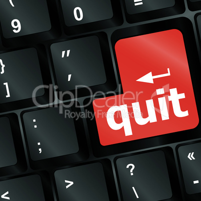 quit button on black internet computer keyboard - vector
