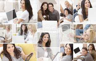 Montage of People Using Laptop Tablet Computer at Home