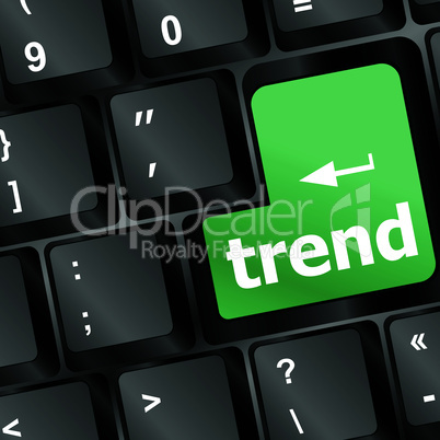 Trend button on keyboard with soft focus