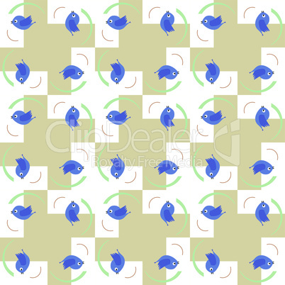 Blue birds seamless pattern - baby boy holiday card