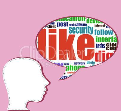 social media words on man head - vector business concept