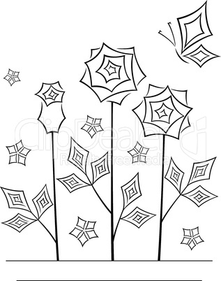 Artistic angular flower line art card